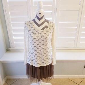 A'Reve Lace & Tulle Drop Waist Dress